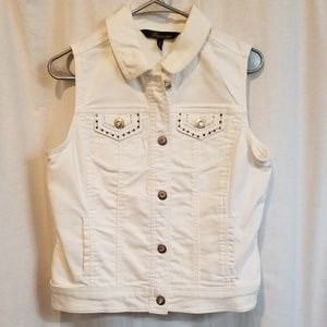 White bling rhinestones denim vest